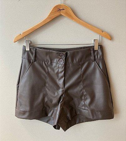 Shorts Couro Trimix Marrom
