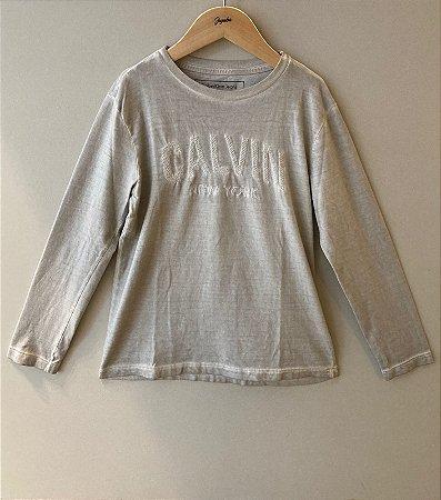 Camiseta Masculina Cinza Bordado