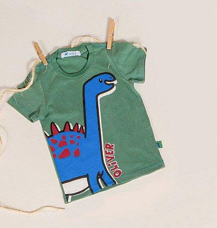Camiseta Infantil Masculino Com Silk Dinossauro