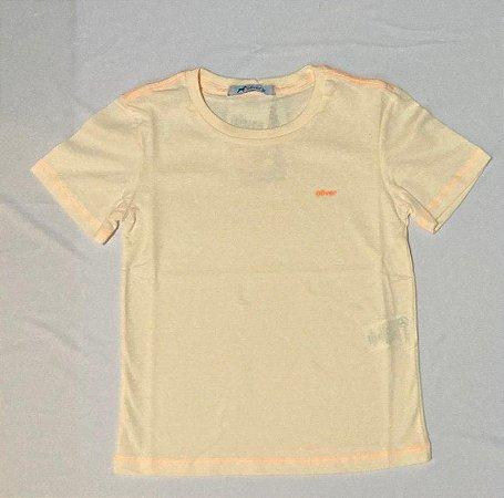 T-shirt Basica em Malha Algodao Botone Laranja Com Etiqueta Logo Laranja