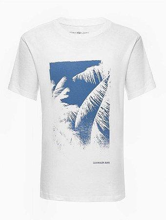 Tshirt mc mm Reat Folhas Palmeira Textur Branco