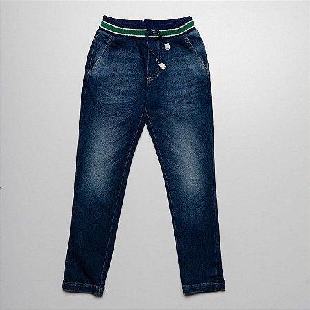 Calca de Moletom Indigo Com Elastano Macio e Confortavel Com Cos de Retilineo Listrado Verde Jeans