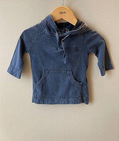 Camiseta Manga Longa e Capuz Azul Marmorizad