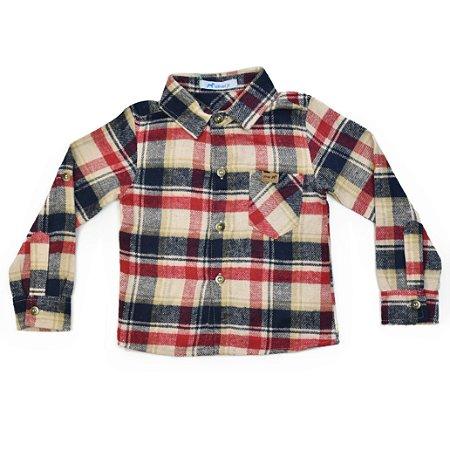 Camisa Infantil Masculina Flanelada Xadrez Com Bolso