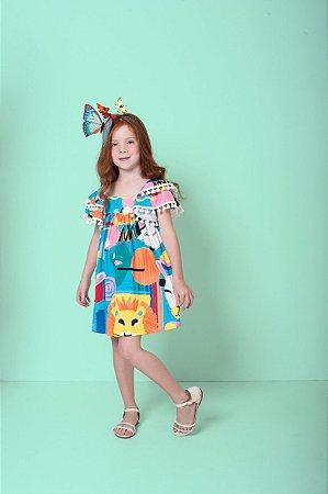 Vestido Infantil Feminino Mylu Estampa Bichos com Fita Crochet Nas Mangas