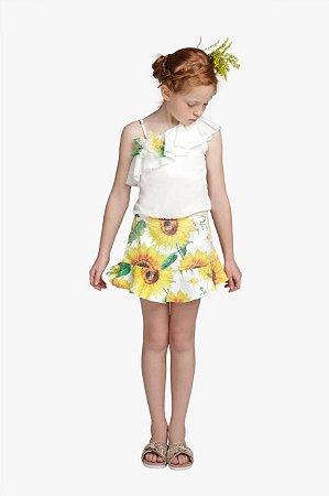 Conjunto Infantil Feminino Bata com Saia Jacquard Floral