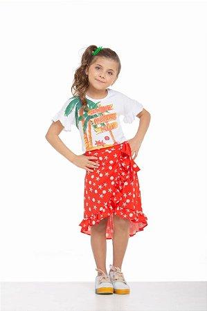 Conjunto Infantil Feminino Blusa com Silk Summer com Saia Pareo Estrelas