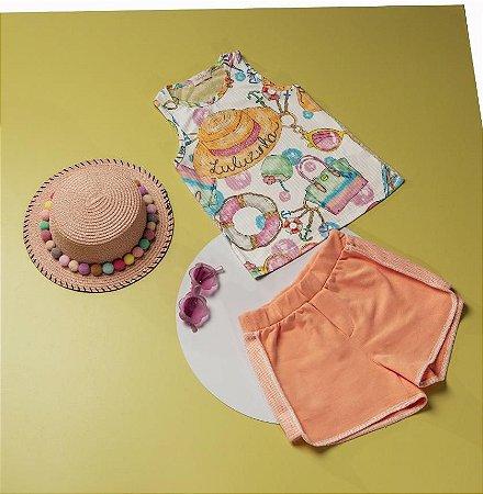 Conjunto Infantil Feminino Regata Estamapa Praia com Shorts Moletom
