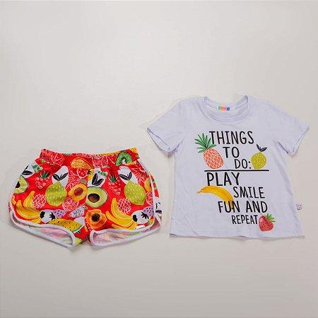 Conjunto Infantil Feminino Blusa com Silk e Short estampa de Frutas