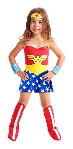 Fantasia Mulher Maravilha Infantil Vestido Std Bota Cinto