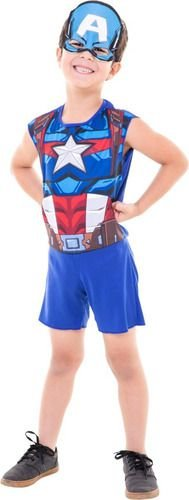 Fantasia Capitão America Infantil Regata Mascara Vingadores