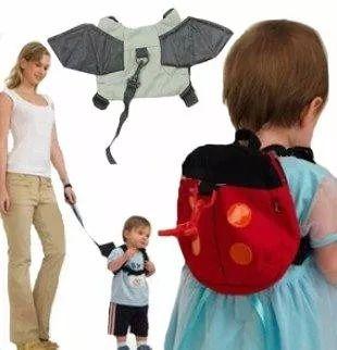 Mochila Guia Coleira De Segurança Infantil Morcego Joaninha