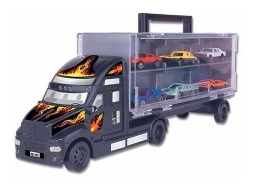 Mini Carreta C/6 Carrinhos Infantil Caminhão Cegonha Criança