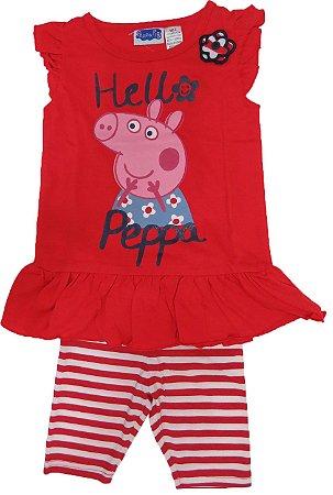 Conjunto Blusinha Vermelha Peppa Pig e Bermuda Listrada