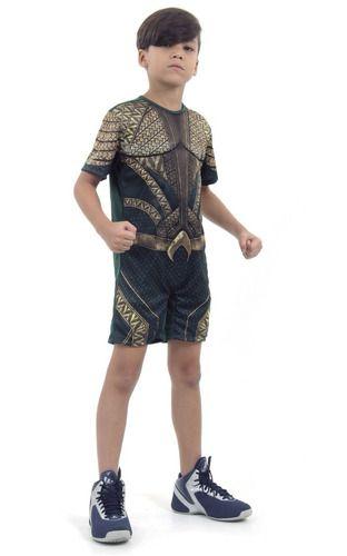 Fantasia Aquaman Infantil Curto C/ Músculo Liga Da Justiça
