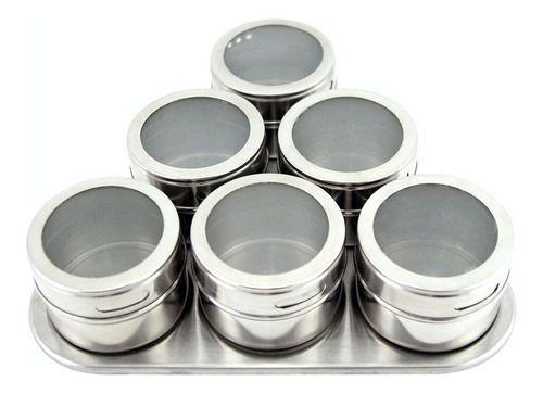 Porta Condimento Magnético Inox 6 Pç Tempero Imã Geladeira