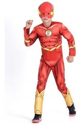 Fantasia The Flash Infantil Premium Dc Flecha Longo Máscara
