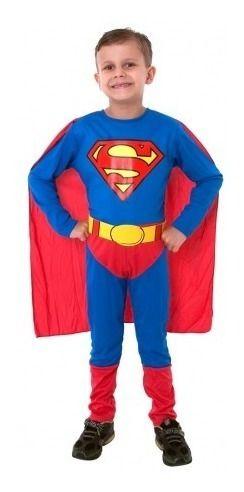Fantasia Superman Infantil Standart Super Homem Cinto E Capa