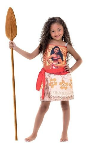 Fantasia Moana Disney Coleção Personagem Vestido Infantil