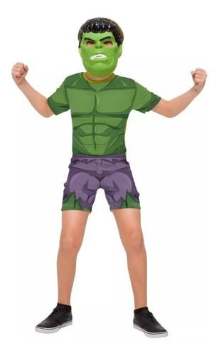 Fantasia Incrível Hulk Infantil Curta Vingadores C/ Máscara