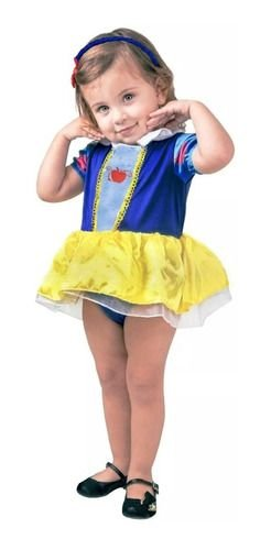 Fantasia Branca De Neve Bebê Confort Princesa Body + Tiara
