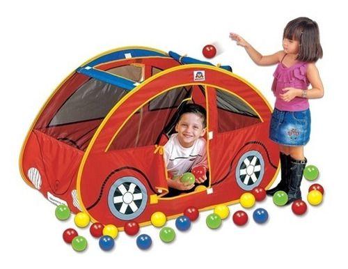 Toca Barraca Futoca Ball Vermelha Cabana Com 150 Bolinhas Coloridas Carro Fusca Braskit