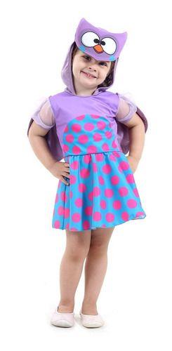 Fantasia Bebê Bubu E As Corujinhas Vestido C/ Capuz Infantil