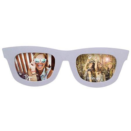 Porta Retrato Duplo Óculos P/ 2 Fotos 10x15cm Horizontal