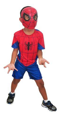 Fantasia Homem Aranha Curta Clássica Máscara Spider Original
