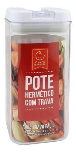 Pote Hermético Quadrado 1300 ml