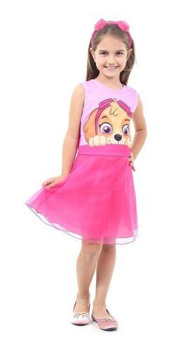 Fantasia Skye Persongem Patrulha Canina Vestido Faixa Cabelo