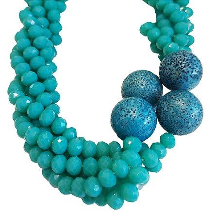 Colar de Pedras Cristal Azul