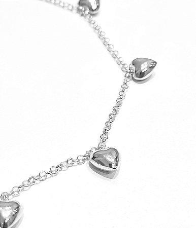Corrente de prata 925 com corações