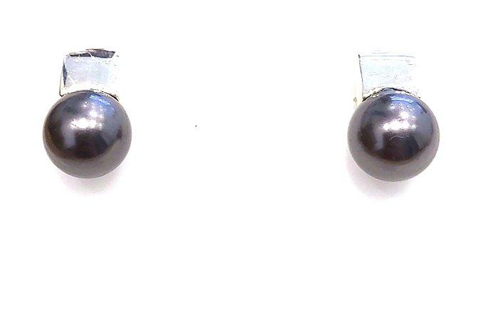 Brinco de Prata com Pérola Shell Preta