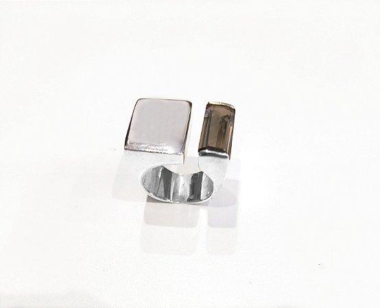 Anel de prata 925 e  Pedra Quartzo Fume