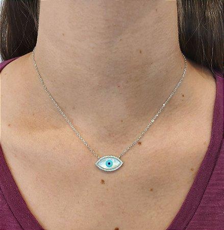Corrente Prata 925 com Pingente olho de proteção em Madre Pérola