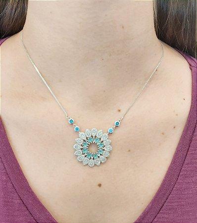 Corrente Prata 925 com Pingente cristal de turmalina Paraiba e Zircônia
