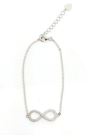 pulseira modelo infinito em prata 925