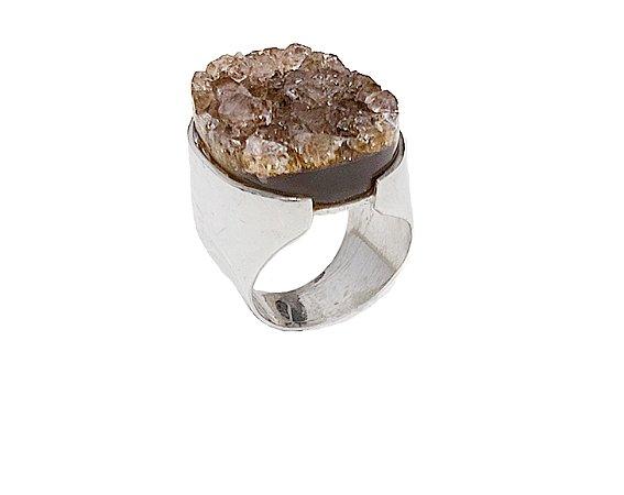anel de prata 925 com Agata Natural Geodada