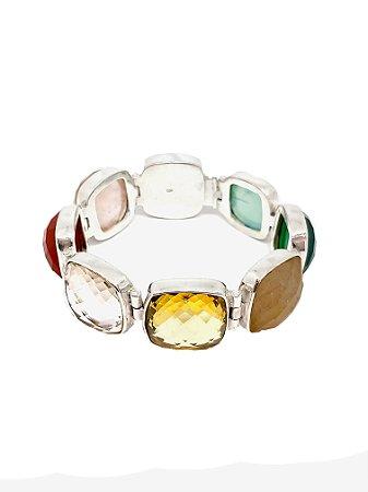 Pulseira de Prata 925 com Dolomita, Quartzo Rosa, Citrino, Quartzo e Cristal
