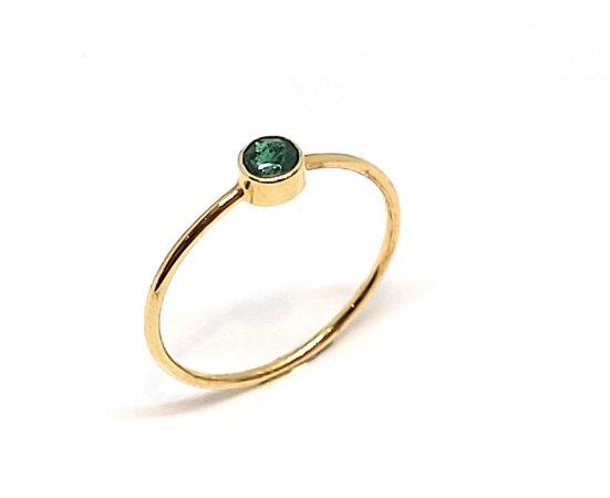 Anel em Ouro 18k com Turmalina Verde
