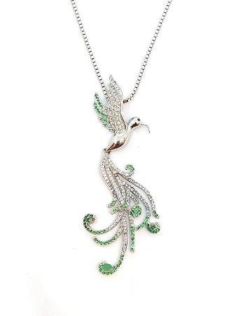 Corrente em prata 925 com cristal de  esmeraldas