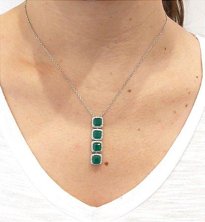 Corrente Prata 925 com cristal de esmeralda