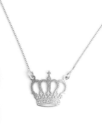 Corrente com pingente em prata 925 de coroa