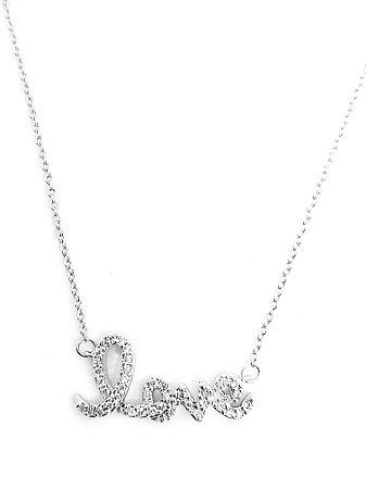 Corrente com pingente love em prata 925 cravejado