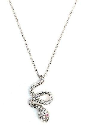 Corrente com pingente  de cobra  em prata 925