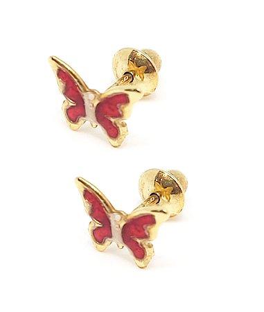Brinco baby em Ouro 18k  modelo borboleta