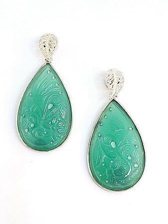 Brinco em Prata 925 com Jade Natural
