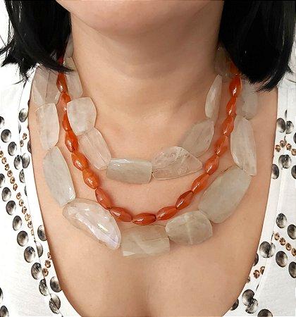 Colar de pedras naturais quartzo rutilado e cornalina