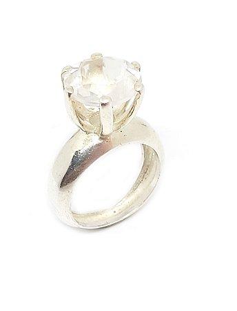 Anel em Prata 925 com Pedra Natural Cristal